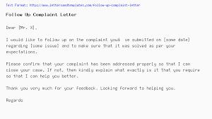 Folow Up Letter Follow Up Complaint Letter