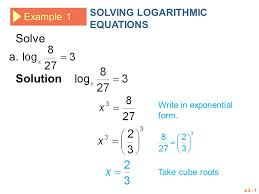 solve a solution solving logarithmic equations example 1