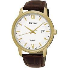 men s leather watch bands new used vintage seiko men s 41mm brown leather band steel case quartz white dial watch sur202