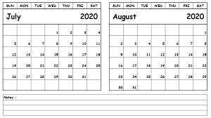 Calendar July August 2020 Calendar Templates Printables