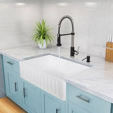 the vigo matte stone farmhouse sink is designed to have impressive looks and a long life solid to the core so you ll never see chips or rust spots