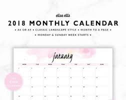 monthly calenar monthly calendar etsy
