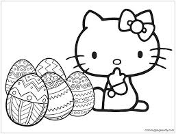 A beautiful picture full of hello kitty! Hello Kitty With Easter Egg Coloring Pages Cartoons Coloring Pages Free Printable Coloring Pages Online