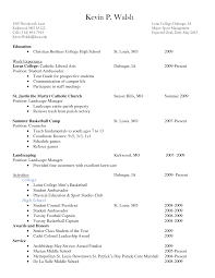 Resume For Undergraduate College Student With No Experience Free