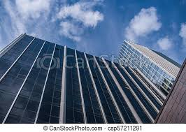 office facades. Bottom View Of Facades Modern Glass Office Buildings And Blue Sky Up It.  -