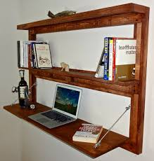 rustic wall mounted fold out desk with shelves bookcase floating desk brown