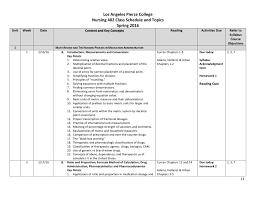 Los Angeles Pierce College Nursing 402 Class Schedule And