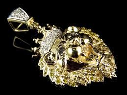 10k yellow gold genuine diamond polished king lion head pendant 0 50ct 1 50