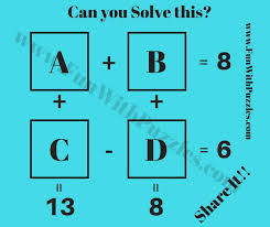 easy maths iq question to solve equations and find values of maths variables