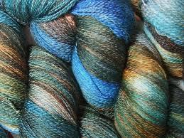 blue wool cashmere skein