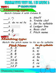 Use the module with care. Sir C G Music 6 Quarter 2 Summative Test Number 1 Facebook