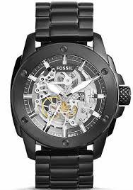 men s fossil modern machine automatic black steel watch me3080