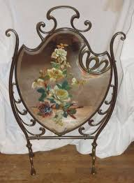 antique victorian fireplace screen hand painted roses mirrored fireplace screen