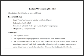 Basic Apa Formatting Checklist Sheet Official Writing Centre