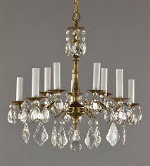 spanish brass crystal chandelier c1950 vintage antique red gold ceiling light