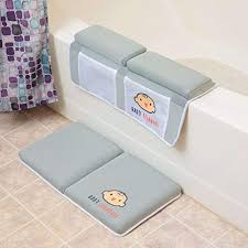 bath kneeler with elbow pad rest set 4 large caddy pockets toy storage and baby bath accessories extra thick and wide cushioned bath mat