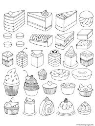 Here are our coloring pages of cupcakes, cakes and other desserts : Adult Cupcakes And Little Cakes Coloring Pages Printable