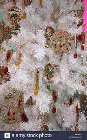 Weihnachtsbaum Künstlich Weiße Eingerichtet Detail