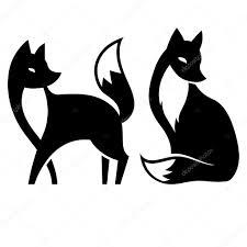 картинка черно белая черно белая лиса векторное изображение