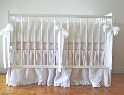 white linen crib bedding set with ruffles moods the nursery sets girl