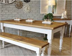 French Style Kitchen Furniture Kitchen Table With White Legs Farmhouse Kitchen Table With Bench