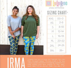 Size Chart For Lularoe Irma Lularoe Mystery Irma Xxs Xs S M L Solids Beautiful Prints