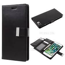 mercury goospery rich diary leather wallet case for iphone 8 plus 7 plus black