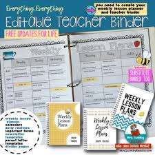 Teacher Daily Schedule Template Free Teacher Binder And Planner Editable Forms Calendars Free Updates