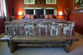 rustic queen size bed frame with reclaimed wooden door footboard magnificent bed frame with headboard