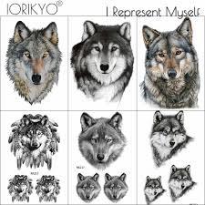 женская мода временные татуировки наклейки хаски лес реальный волк King для мужчин