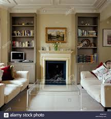 Living Room Alcove Alcove Shelving On Either Side Of Fireplace In Cream Country