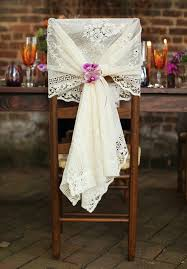 lace chair cover and orchids