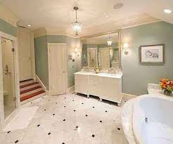 master bathroom with chandelier hooked on houses