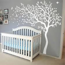 2017 New Huge White Tree Wall Decal Nursery Tree and Birds Wall Art Baby  Kids Room