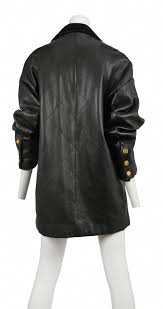 vintage chanel quilted black leather oversized blazer style jacket with gold chanel ons