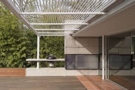 Trellis Modern Design Steel Trellis Outdoor Fireplace And Extended Balcony