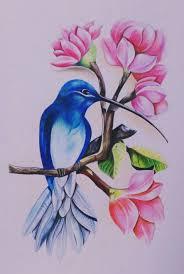 Fabric Painting Designs Of Birds Mi Chuparrosa Bird Drawings Oil Pastel Drawings Drawings