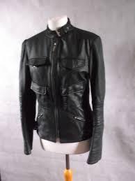 sportmax by max mara black leather biker jacket flawless uk 10 nappa