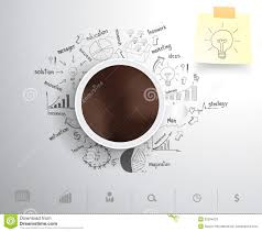 vector coffee cup on drawing business strategy pla stock vector royalty stock photo