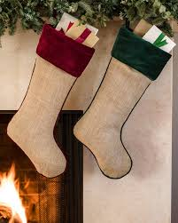 Forest Green Breckenridge Burlap Stocking Main