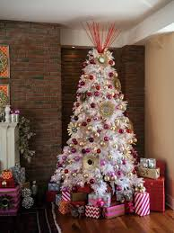 White Christmas Tree with Pink and Gold Ornaments