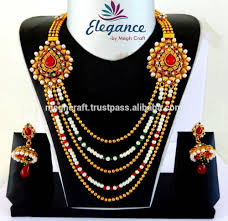 Long Rani Haar Designs In Gold Whoeslae South Indian Rani Haar Jewelry Heavy Look Pearl Necklace Set Indian Heavy Gold Jewelery Wholesale One Gram Sets View Traditional South