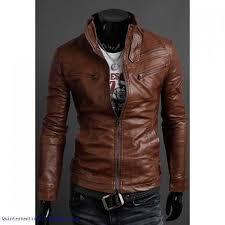 leather jacket light brown korean stand collar multi zipper embellished pu men s