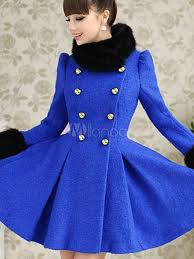 beautiful royal blue long sleeves two tone wool blend pleated pea coat for women