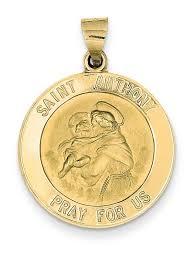 14k yellow gold saint anthony medal