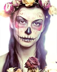 makeup ideas for women pretty sugar skull face roses pink yellow