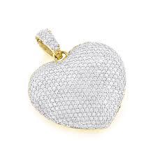 pave diamond heart pendant 14k gold 2 carats yellow image