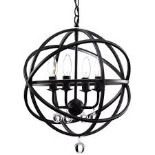 carbon loft bidwell antique black metal sphere 4 light crystal chandelier