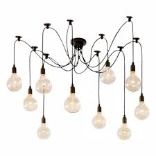 edison spider chandelier pendant lights black