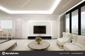 The Modern Luxury Living Room And White Wall Pattern Design Interior